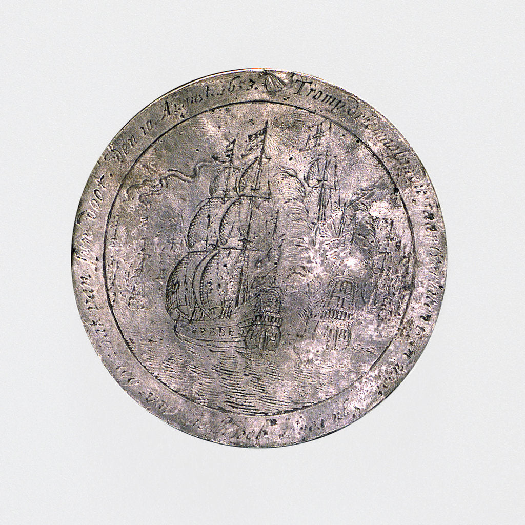 Detail of Medal commemorating the Battle of the Texel and the death of Admiral Tromp, 1653; reverse by O.M.