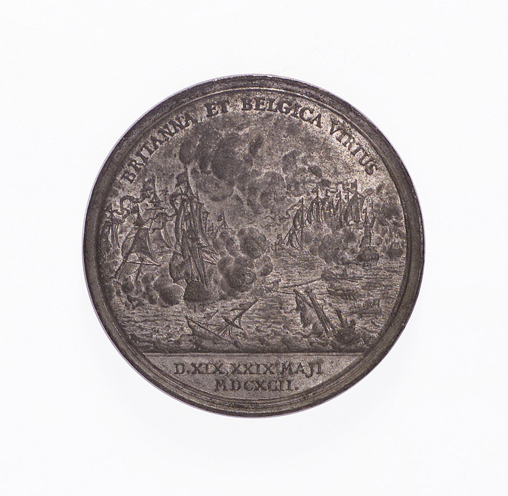 Detail of Medal commemorating the Battle of la Hogue, 1692; reverse by J. Smeltzing