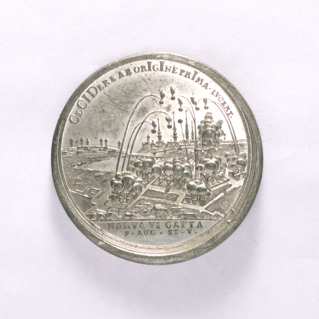 Detail of Medal commemorating the capture of Narva, 1704; reverse by T. Iwanov