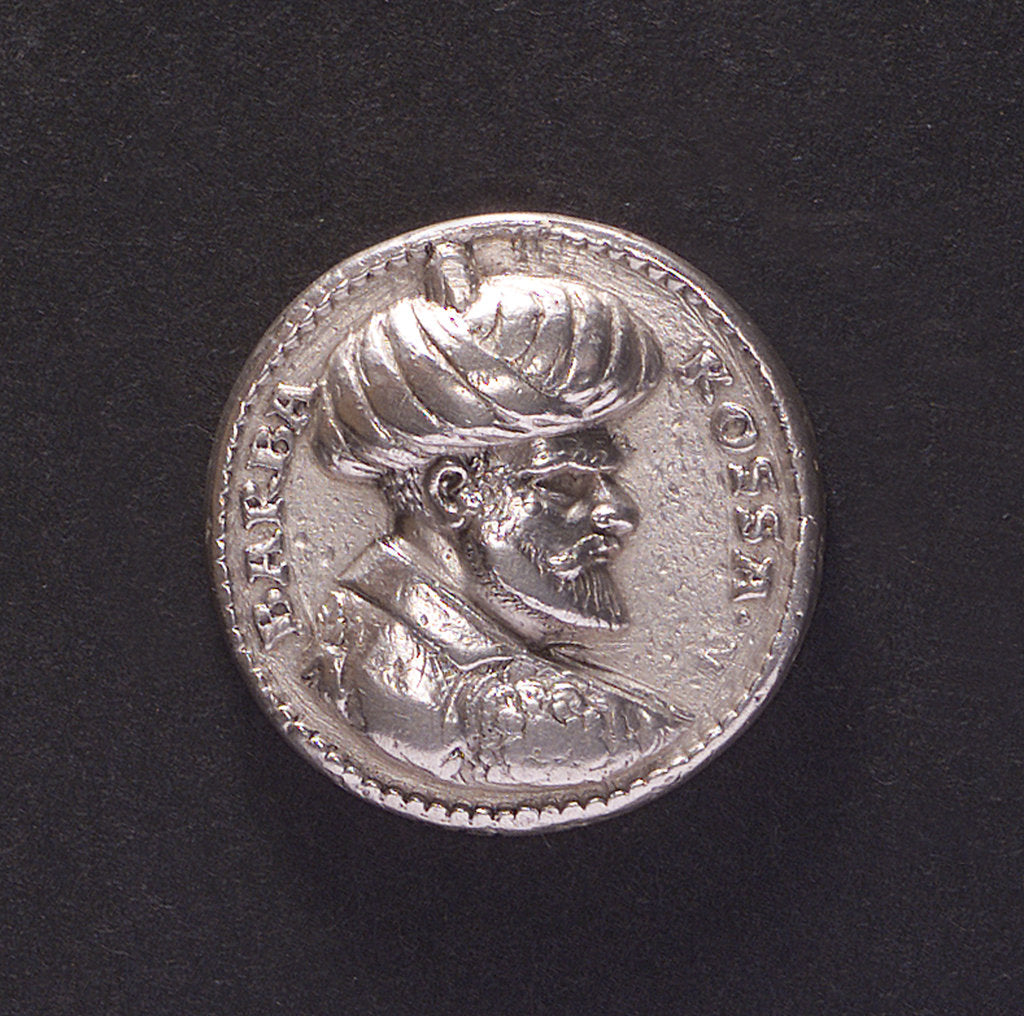 Detail of Medal commemorating Admiral Khair Ad-din Barbarossa of Algiers; obverse by L. Neufarer
