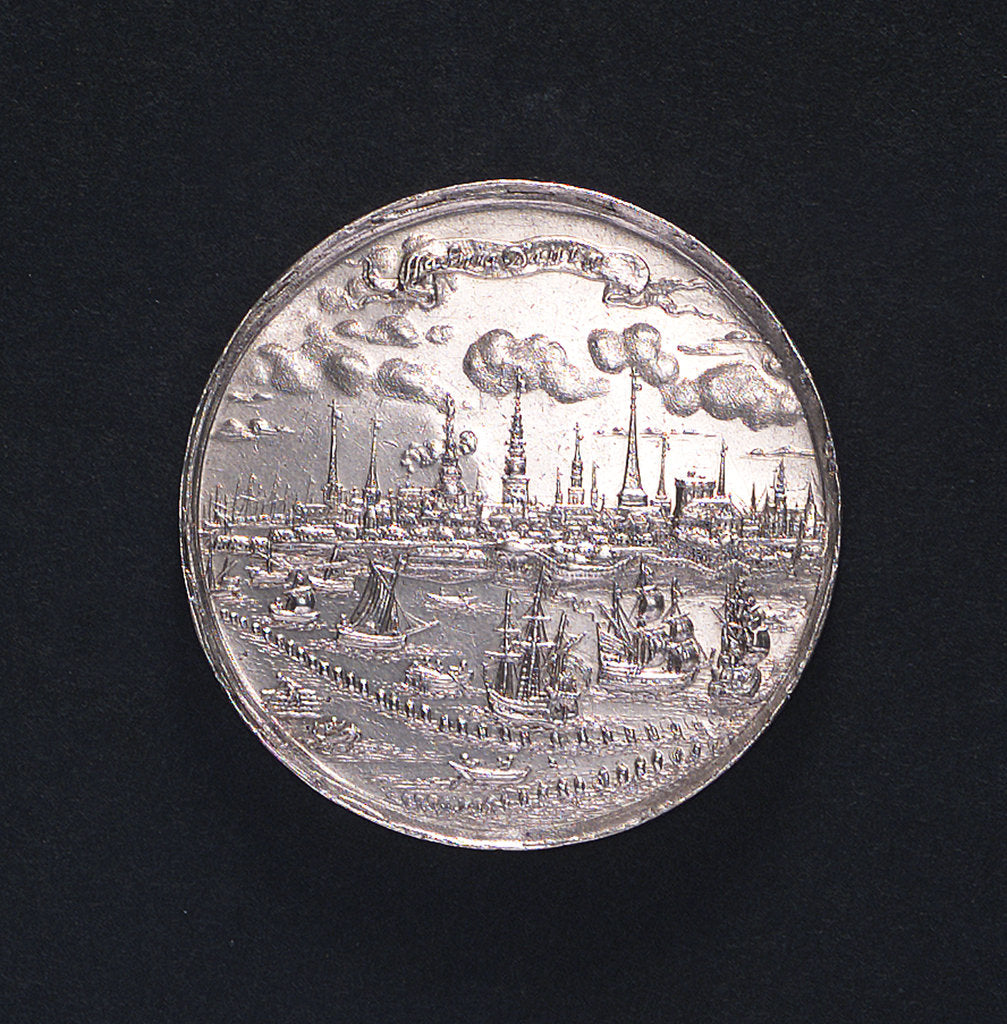 Detail of Medal commemorating the relief of Copenhagen and evacuation of Croneburg, 1658; reverse by J. Hercules