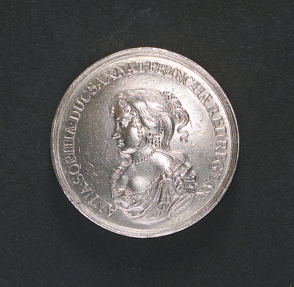 Detail of Medal commemorating the visit to Copenhagen of Princess Anna Sophia of Saxony, 1676; obverse by E.K. D