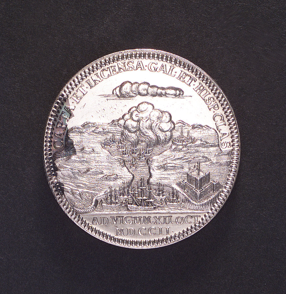 Detail of Medal commemorating the Expedition to Vigo Bay, 1702; reverse by C. Wermuth