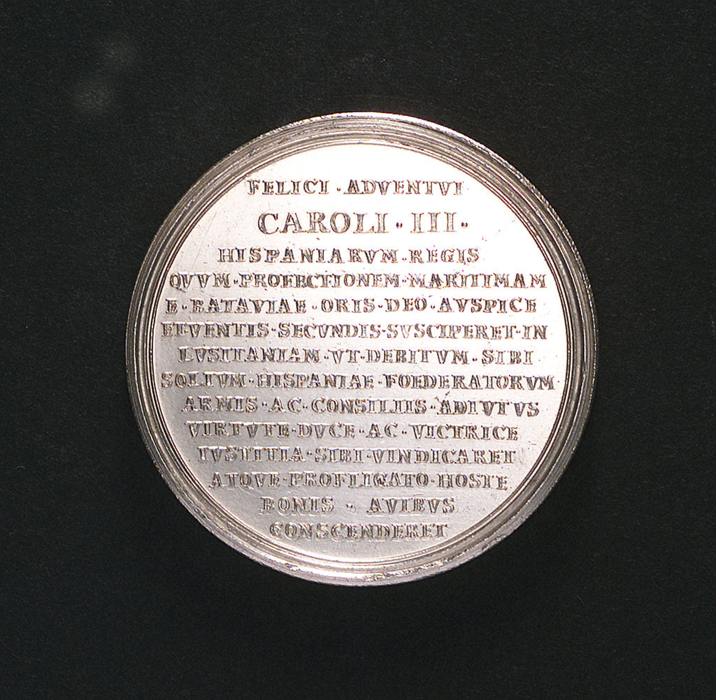 Detail of Medal commemorating the arrival of King Charles III in Portugal, 1703; reverse by C. Wermuth