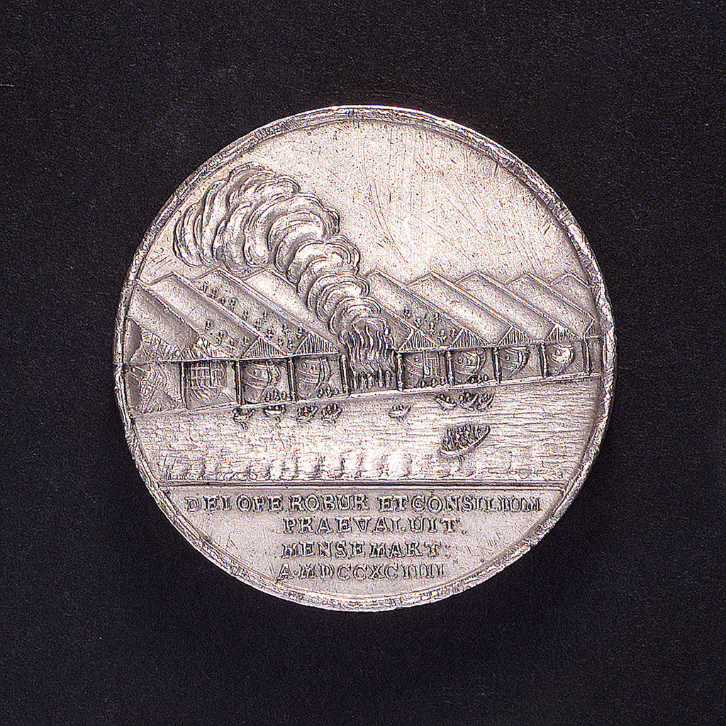 Detail of Medal commemorating ship construction in Venice; reverse by A. Schabel