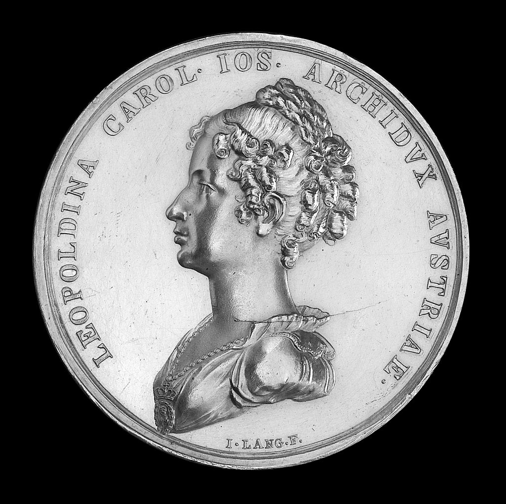 Detail of Medal commemorating the journey to Brazil of Archduchess Leopoldine of Austria, 1817; obverse by J.N. Lang