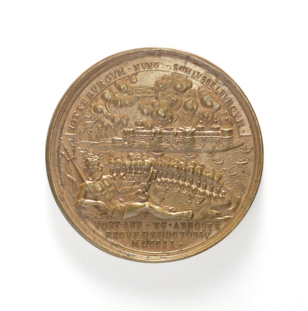 Detail of Medal commemorating the capture of two Swedish ships, 1703; obverse by T. Iwanov