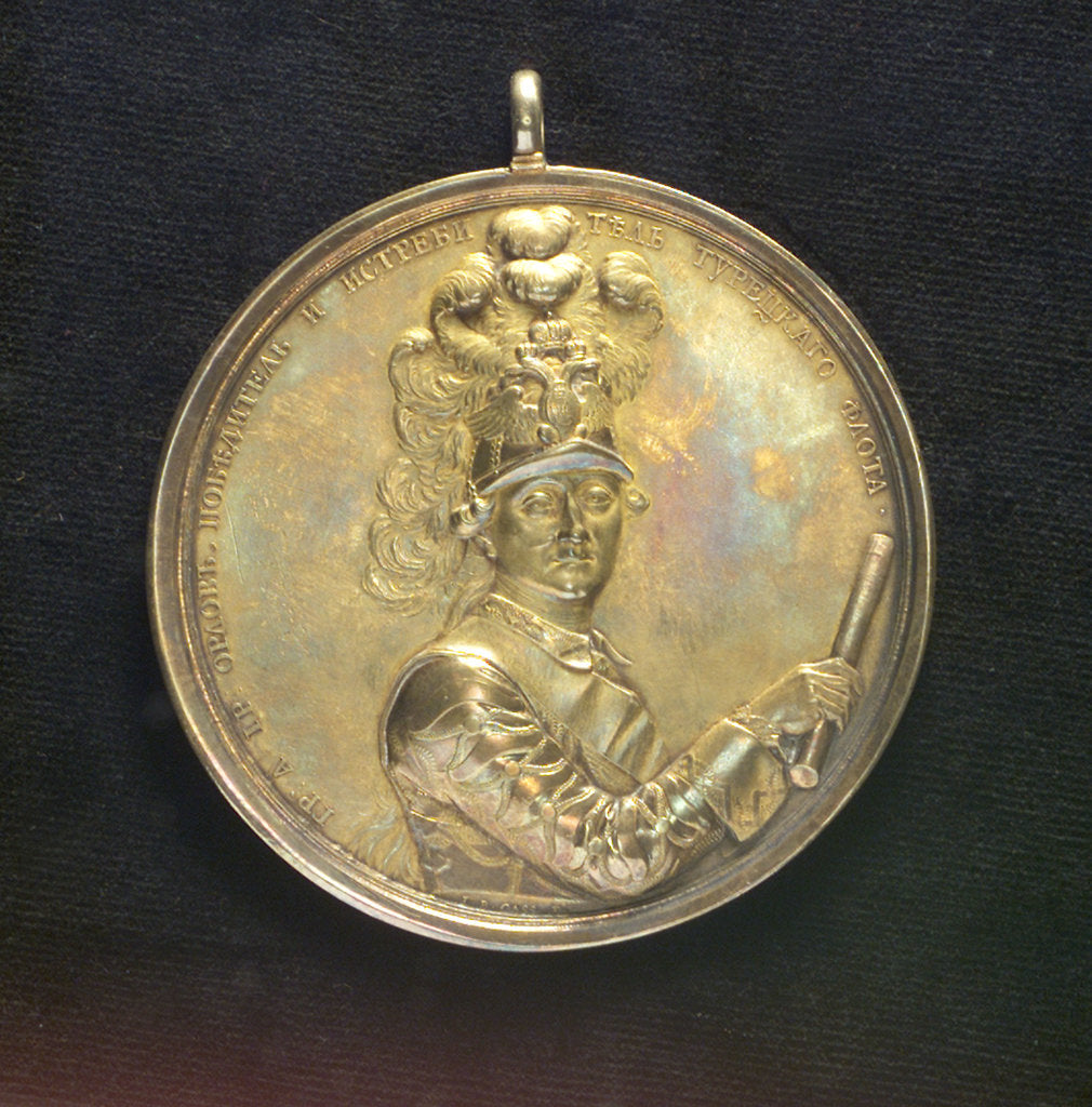 Detail of Medal commemorating Admiral Count Orlov and the Battle of Chesme, 1770; obverse by J.B. Gass