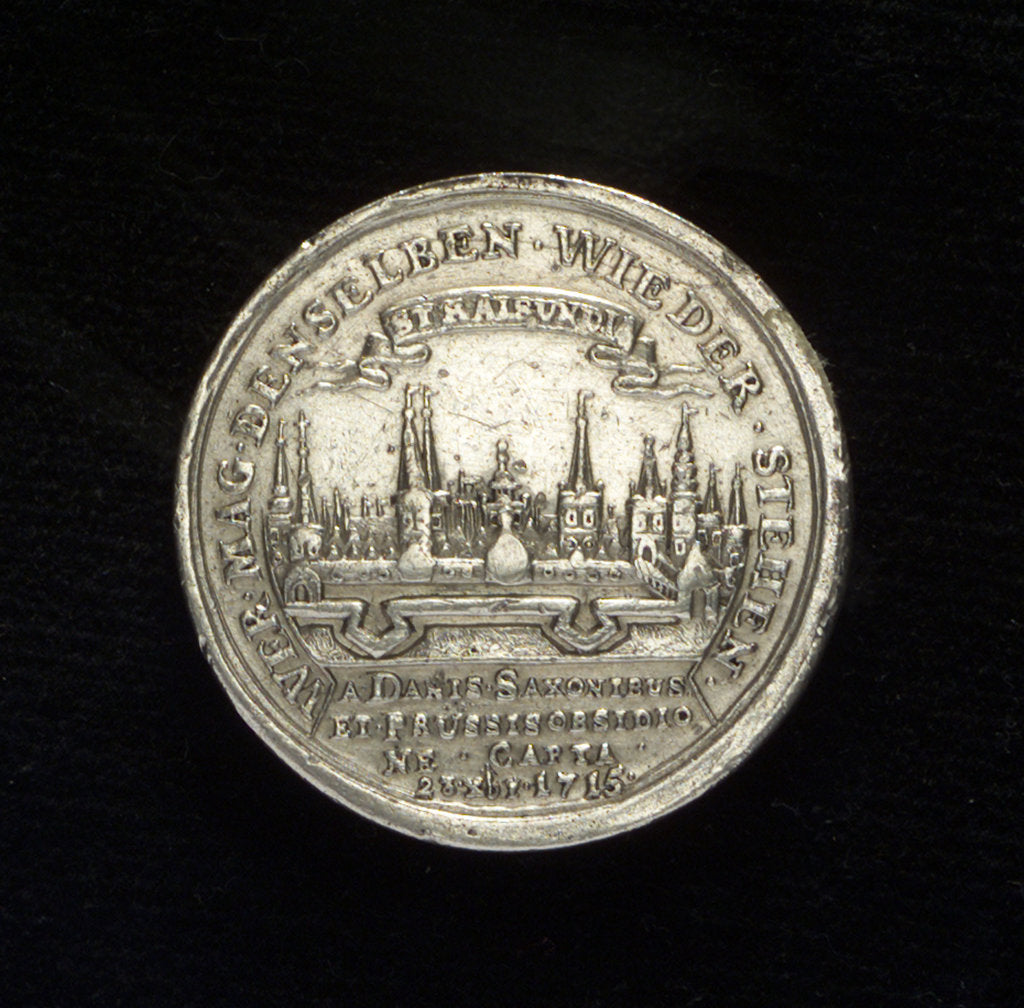 Detail of Medal commemorating the capture of Stralsund, 1715; reverse by unknown