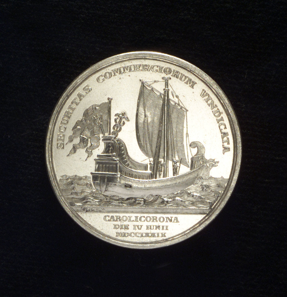 Detail of Medal commemorating the protection of sea trade; reverse by Gustav Ljungberger