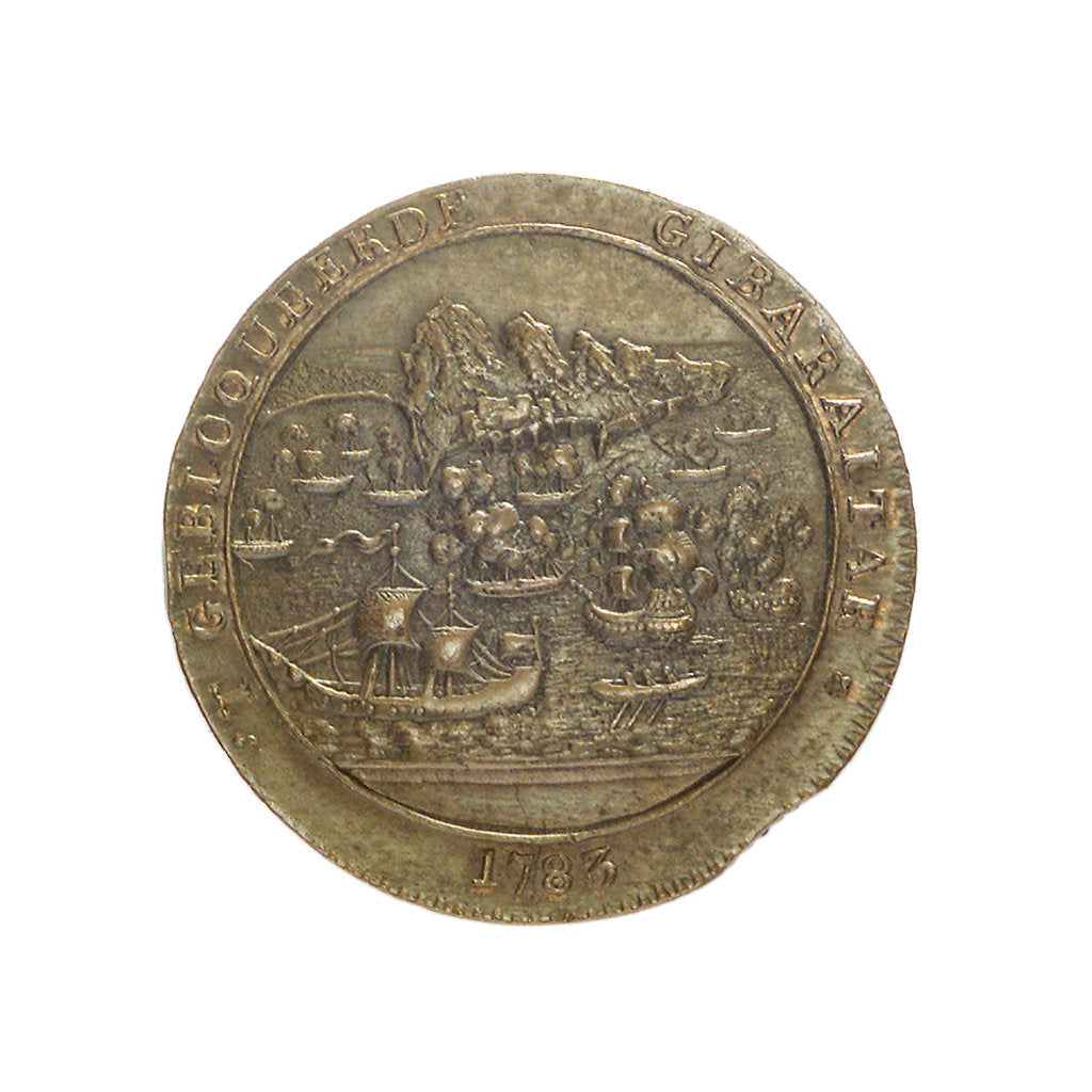 Detail of Counter commemorating the blockade of Gibraltar, 1783 and the loss of the 'Royal George', 1782; obverse by unknown