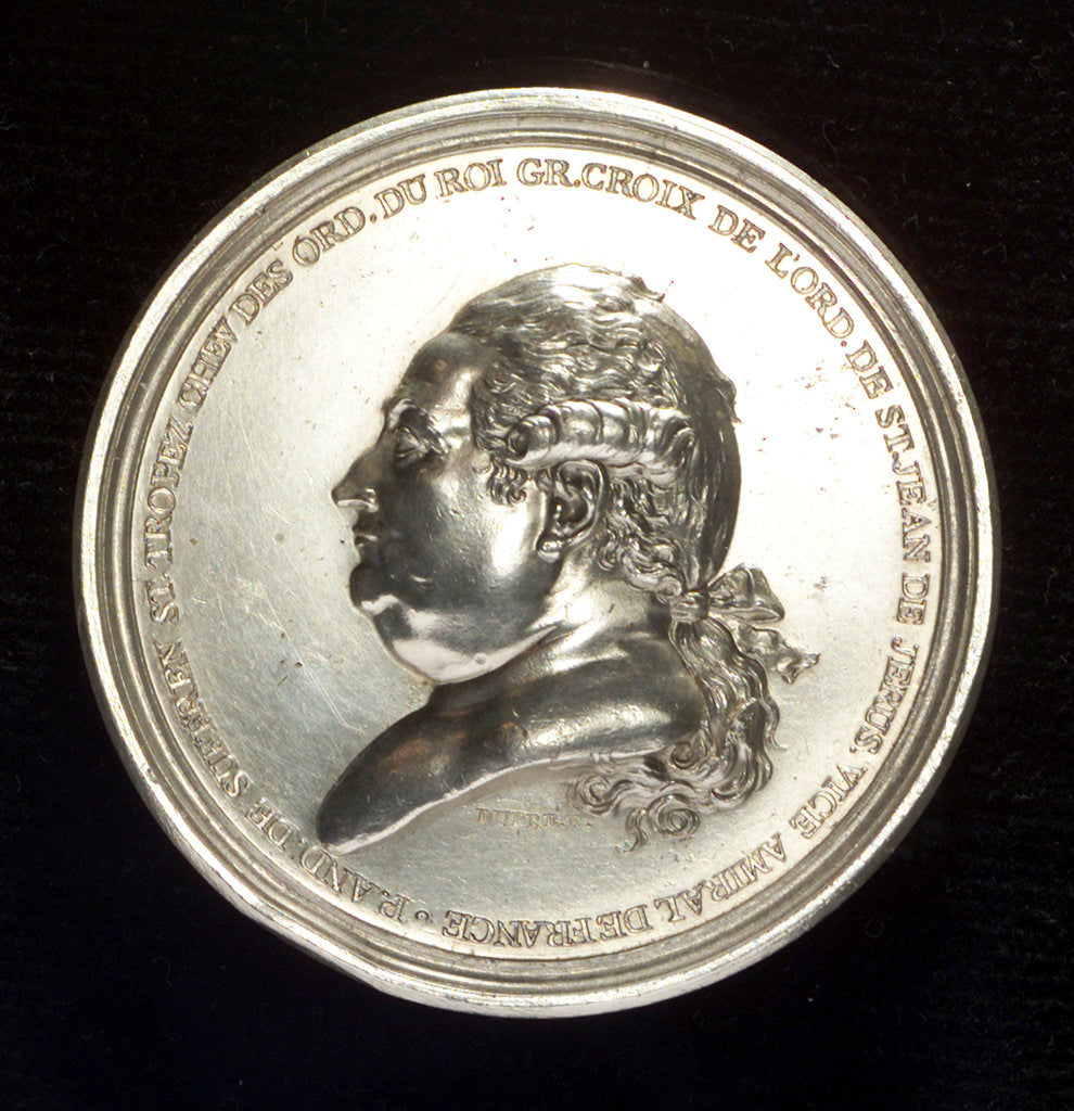 Detail of Medal commemorating Admiral Pierre André de Suffren Saint Tropez (1729-1788) by Augustin Dupr