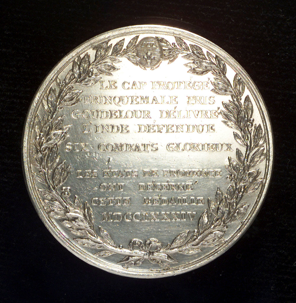Detail of Medal commemorating Admiral Pierre AndrÔòáde Suffren Saint Tropez (1729-1788) by Augustin Dupr