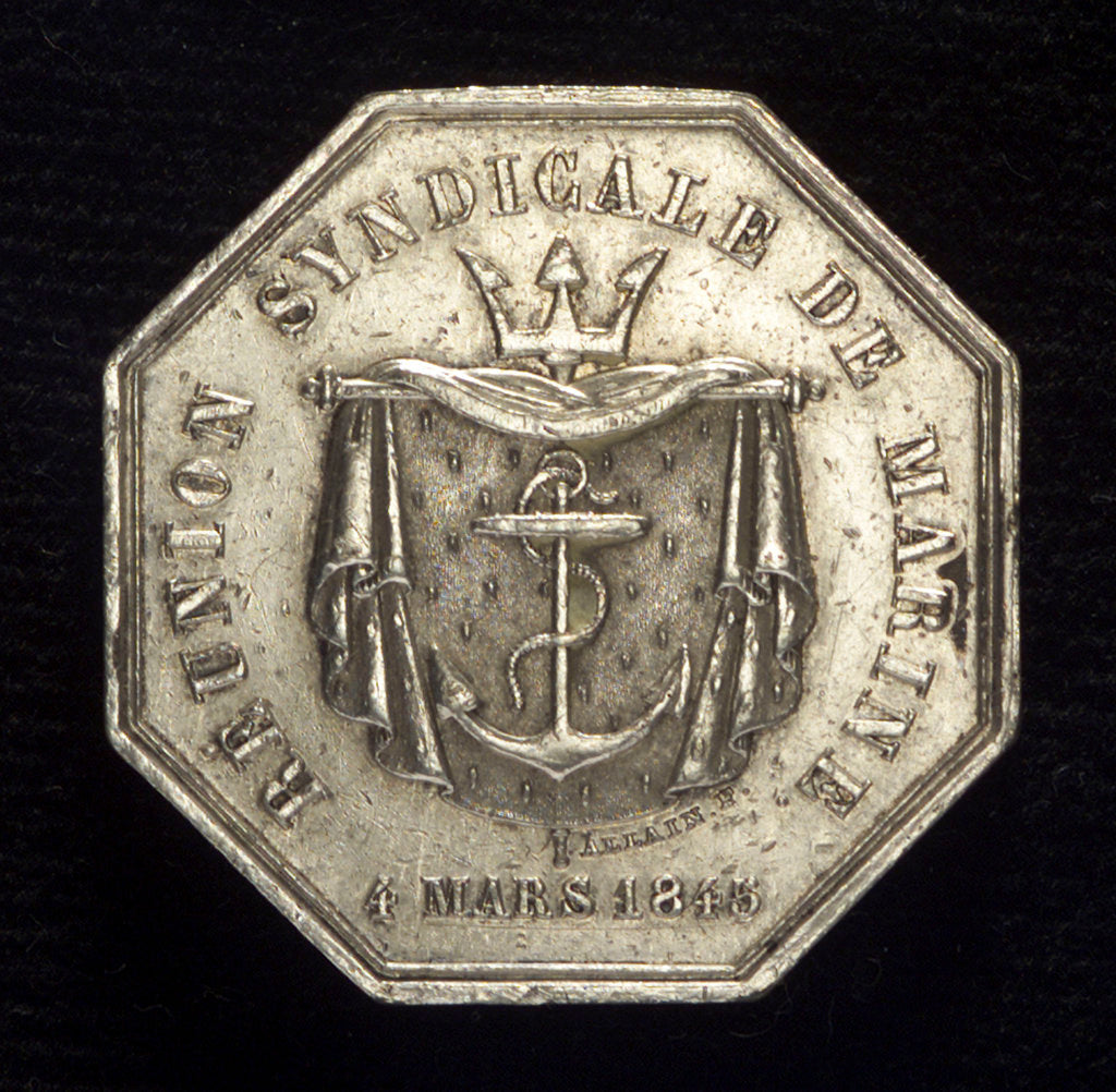 Detail of Medal commemorating the Réunion syndicate de Marine by Allain