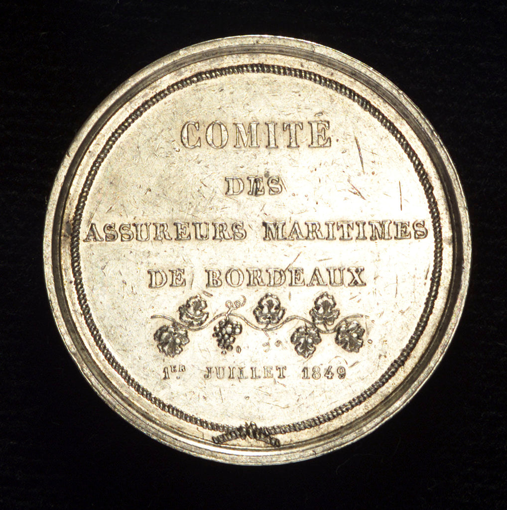 Detail of Medal commemorating the committee of Marine Insurers of Bordeaux; reverse by E. Rogat