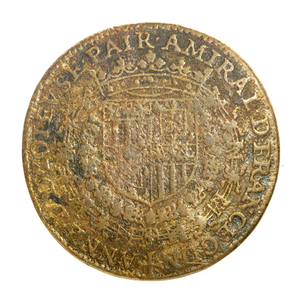 Detail of Counter commemorating Admiral Duc de Joyeuse (1561-1587) and his loss of the King's favour; obverse by unknown