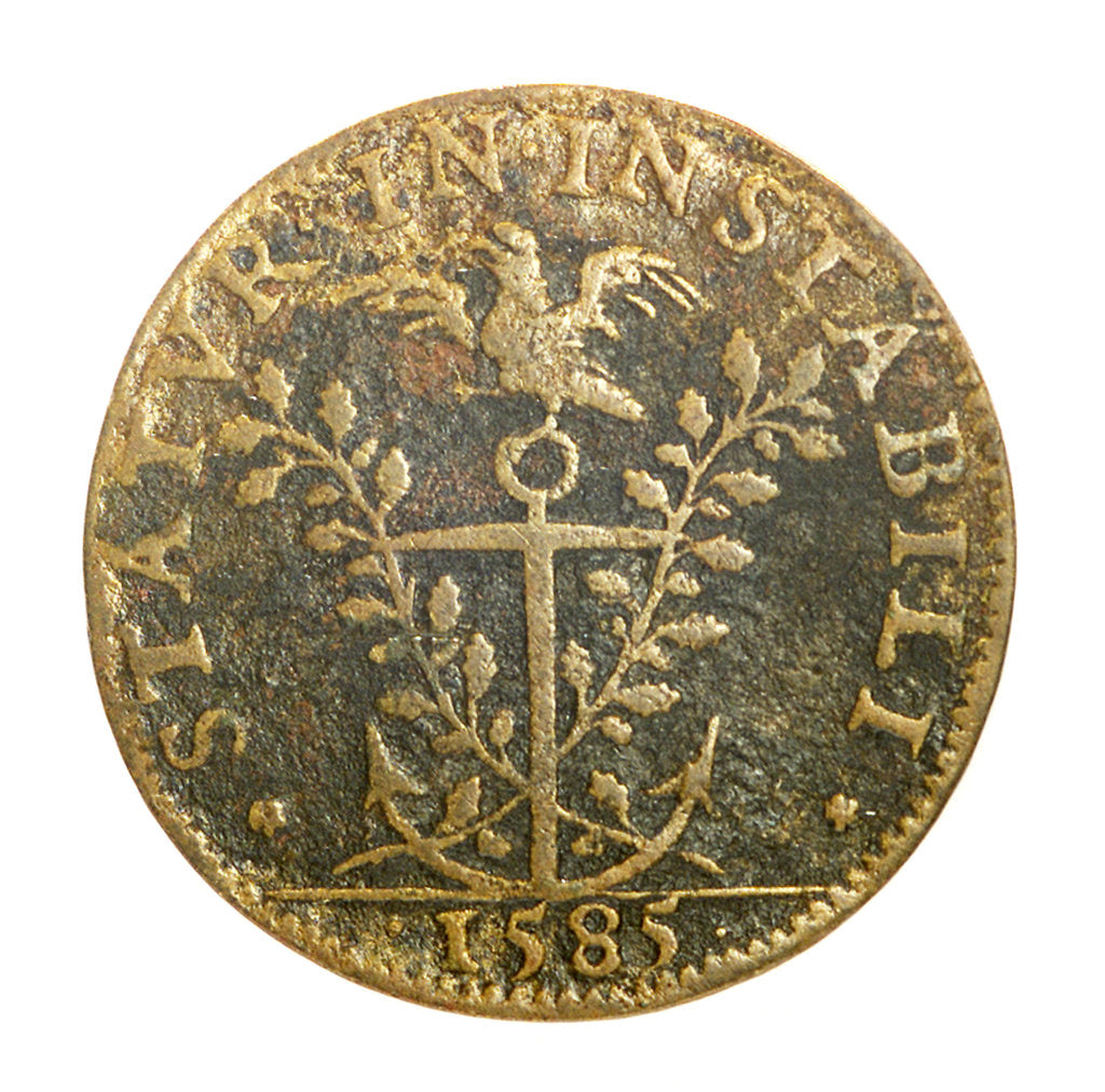 Detail of Counter commemorating Admiral Duc de Joyeuse (1561-1587) and his loss of the King's favour; reverse by unknown
