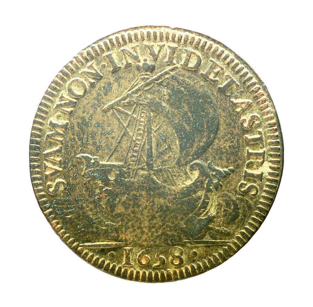 Detail of Counter commemorating French ships being seized by the Dutch, 1658; reverse by unknown