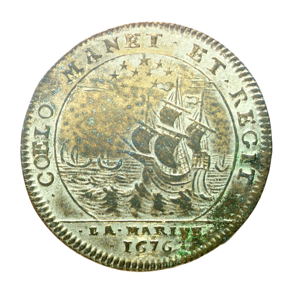 Detail of Counter commemorating the defeat of the Spanish fleet, 1676; reverse by Lowenstein