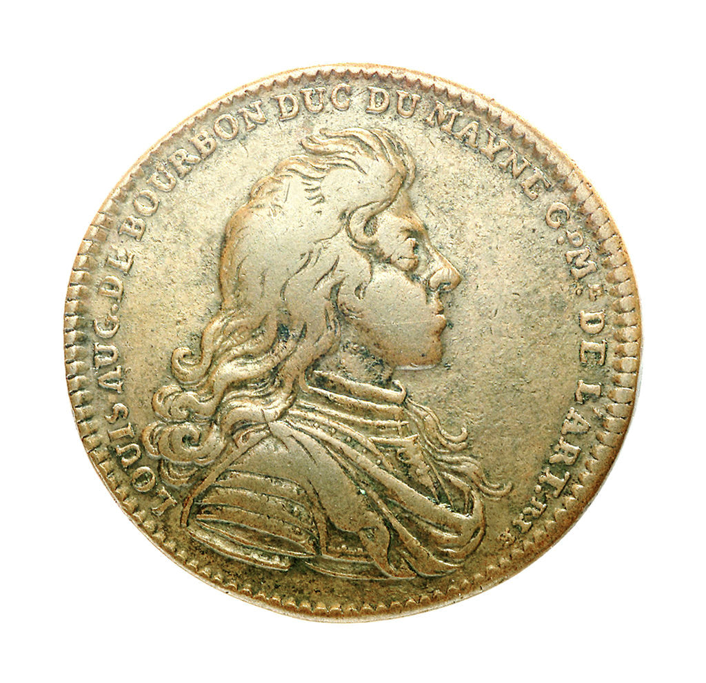 Detail of Counter commemorating  Louis A. de Bourbon, Duc du Maine (born 1670),  Grandmaster of Artillery; reverse by unknown