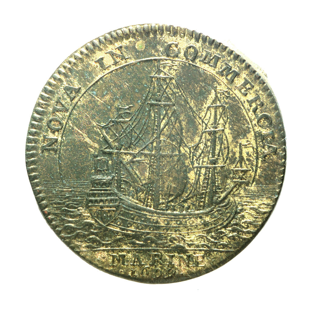 Detail of Counter commemorating the cruise of Beauchesne to the coasts of Chile and Peru for trade purposes; reverse by unknown