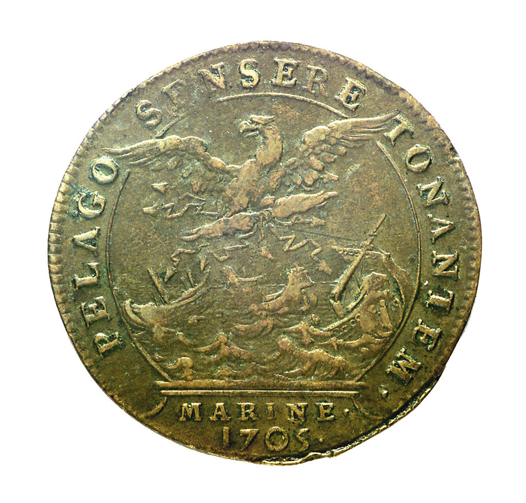 Detail of Counter commemorating the Battle of Malaga, 1704; reverse by H. Roussel