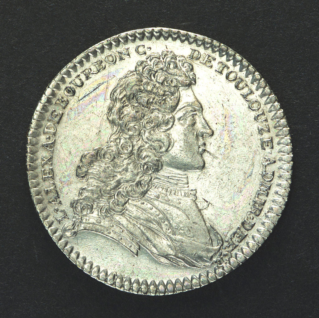 Detail of Counter commemorating the cruise of Admiral d'Antin to Morocco, 1738; obverse by unknown
