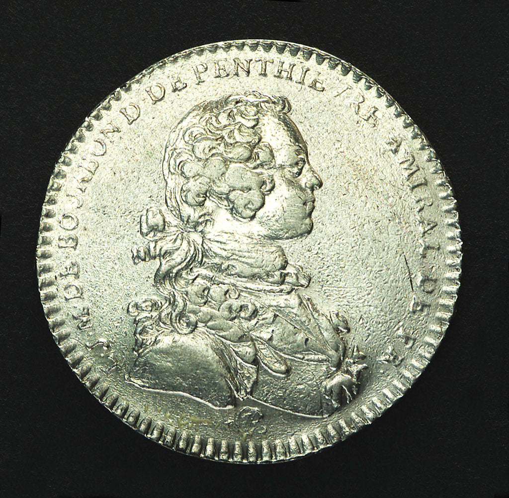 Detail of Counter commemorating the landing of the Young Pretender in Scotland, 1746; obverse by J.C. Roettier