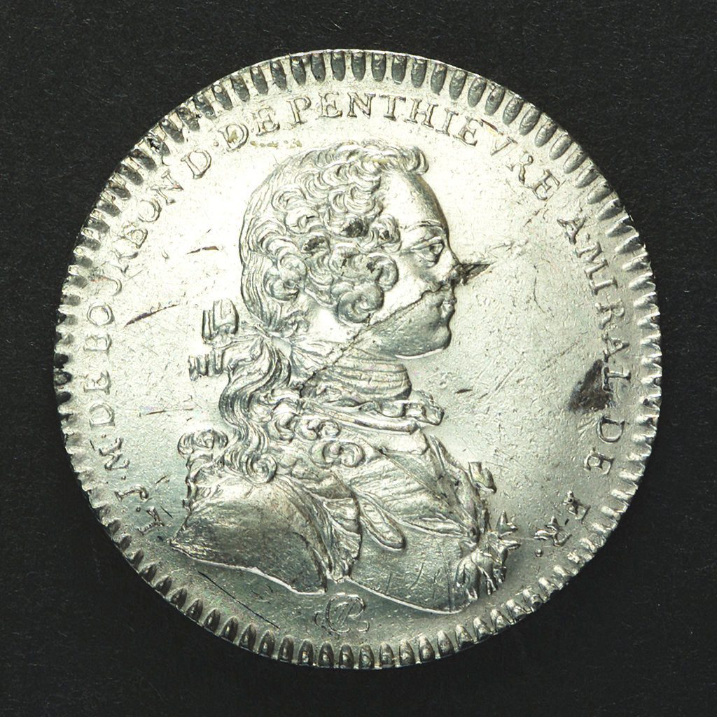 Detail of Counter commemorating Admiral Duc d'Anville wrecked off the Azores; obverse by J.C. Roettier