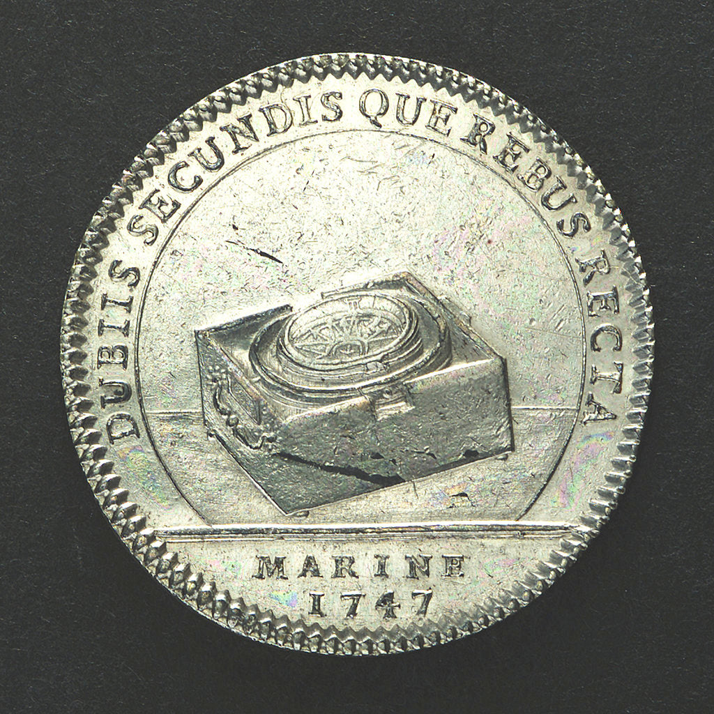 Detail of Counter commemorating Admiral Duc d'Anville wrecked off the Azores; reverse by J.C. Roettier