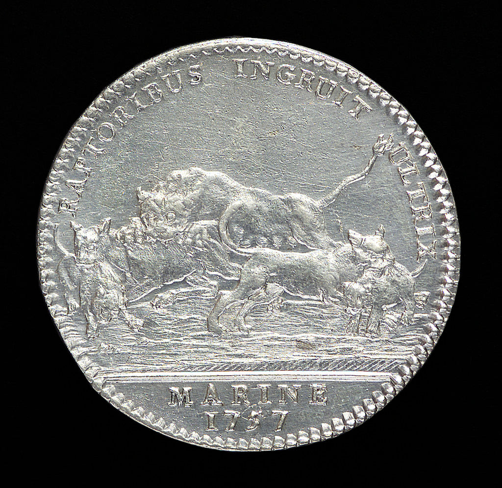 Detail of Counter commemorating the Battle of Minorca, 1756; reverse by J.C. Roettier