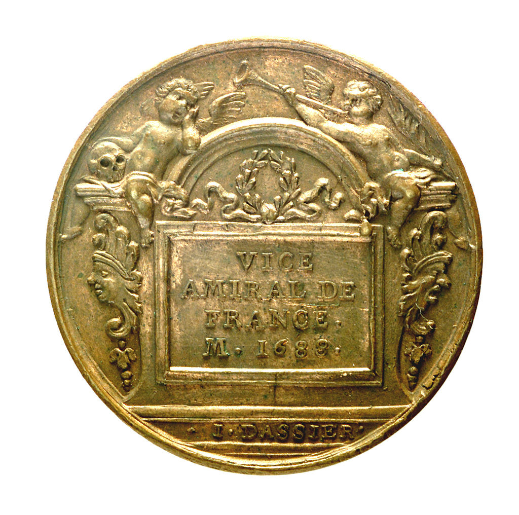 Detail of Counter commemorating Admiral Abraham Duquesne (1610-1688); reverse by J. Dassier