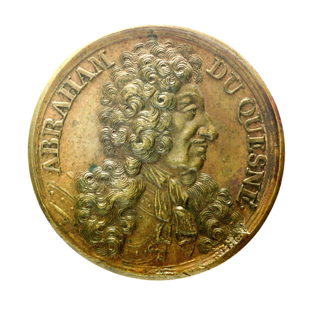 Detail of Counter commemorating Admiral Duquesne; obverse by J. Dassier