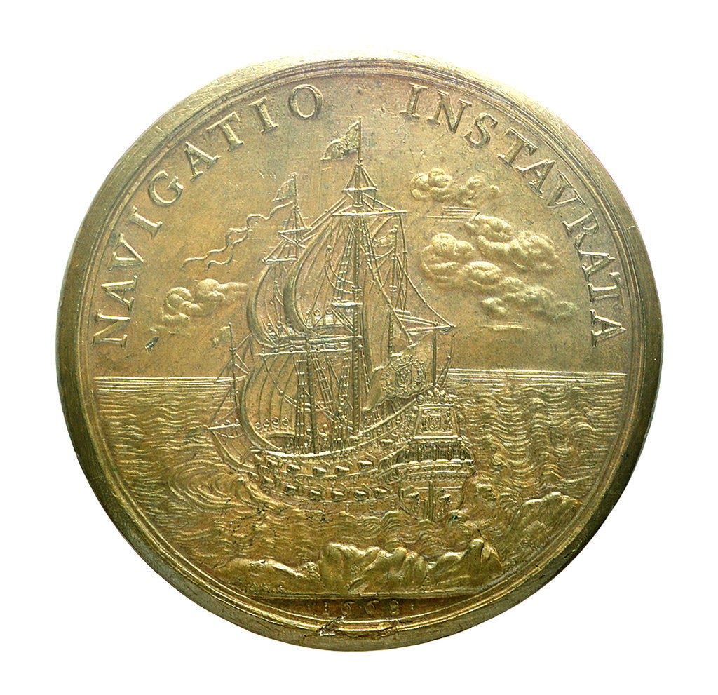 Detail of Medal commemorating the strengthened navy; reverse by J. Mauger