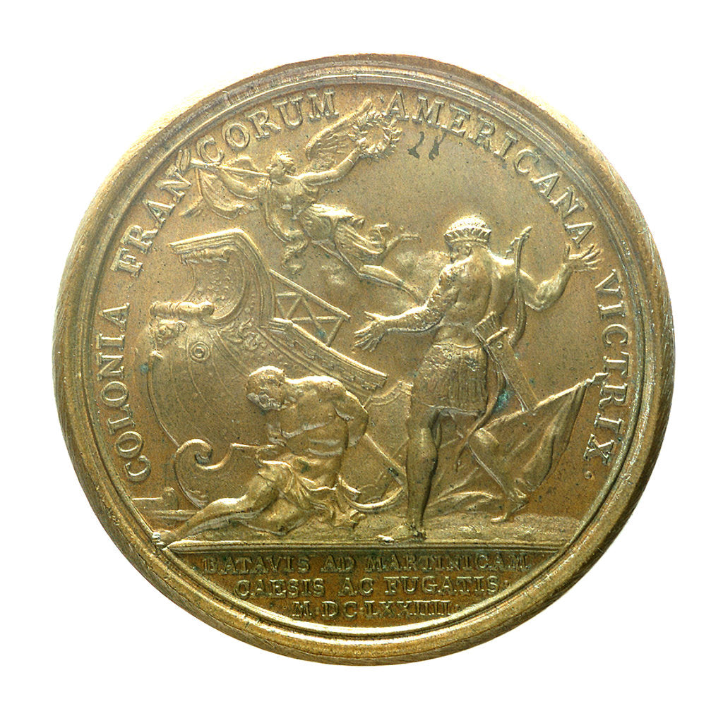 Detail of Medal commemorating the Dutch attack on Martinique repulsed, 1674; reverse by J. Mauger