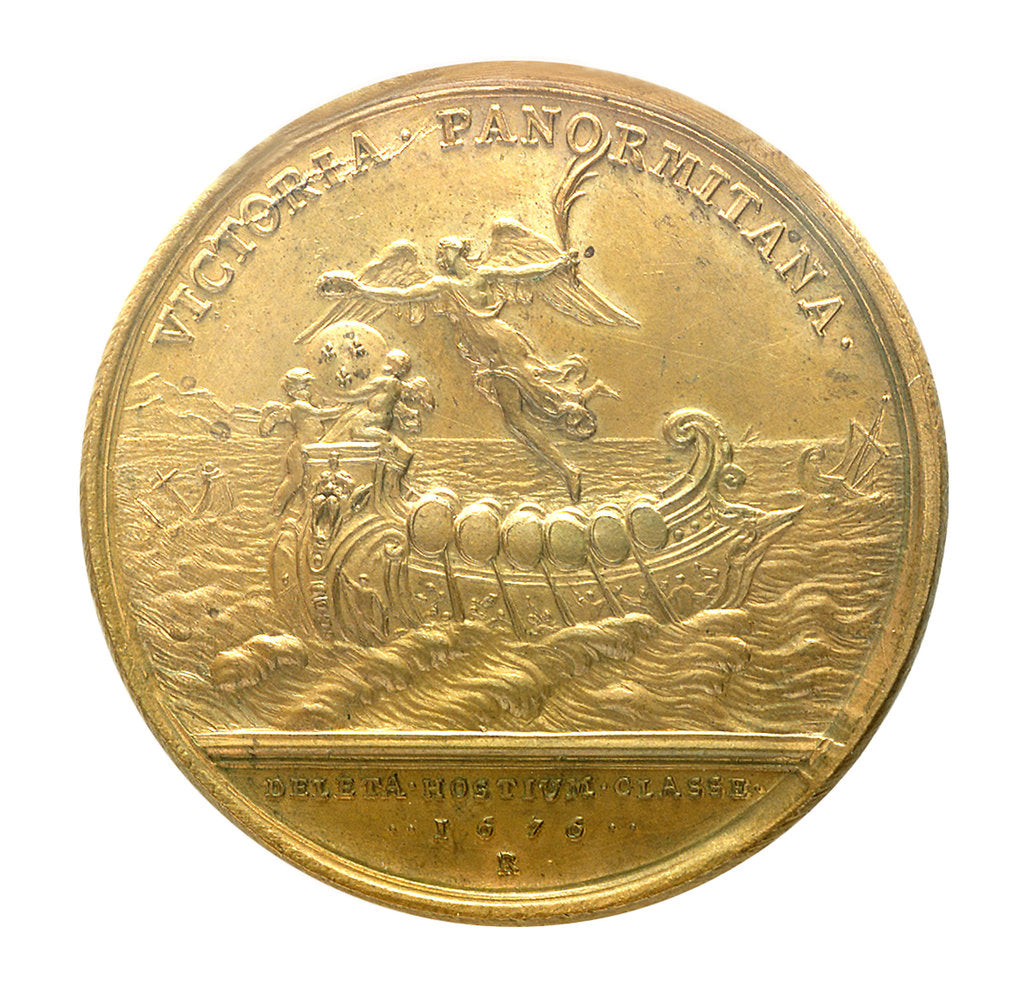 Detail of Medal commemorating the defeat of the Dutch and Spanish fleets at Palermo, 1676; reverse by J. Mauger