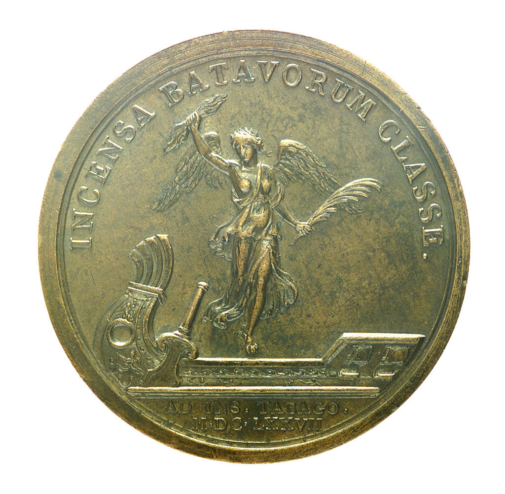 Detail of Medal commemorating the capture of Tobago, 1677; reverse by J. Mauger