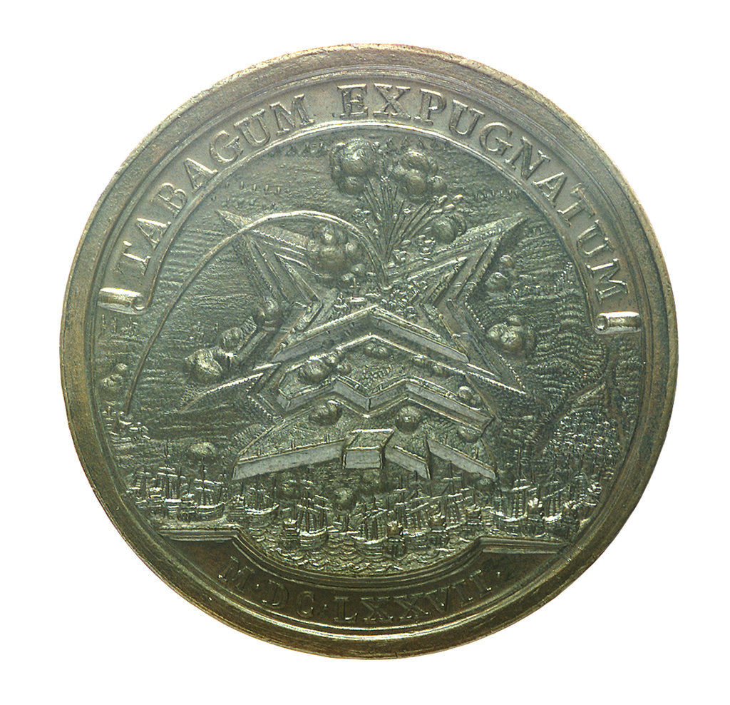 Detail of Medal commemorating the capture of Tobago, 1677; reverse by L.I.