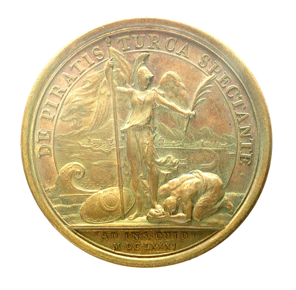 Detail of Medal commemorating the Tripoli pirates defeated at Chios, 1681; reverse by J. Mauger