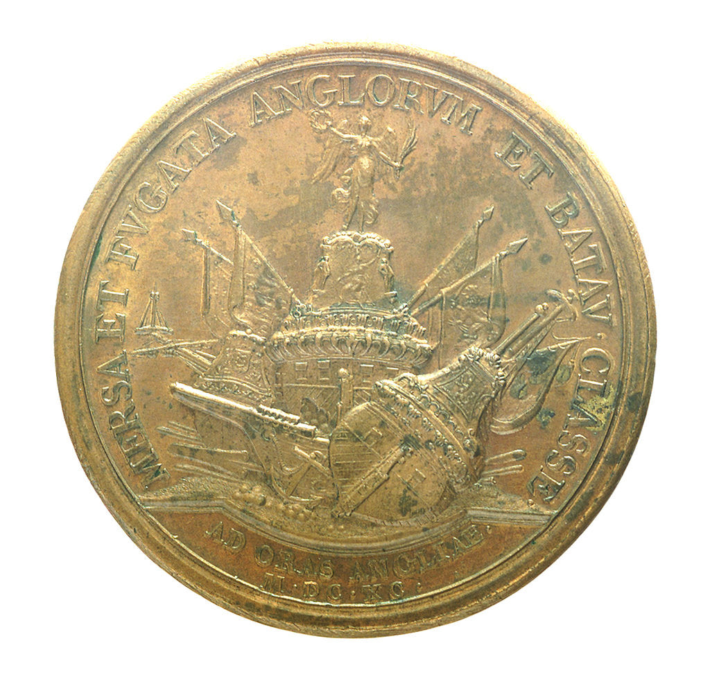 Detail of Medal commemorating the action off Beachy Head, 1690; reverse by J. Mauger