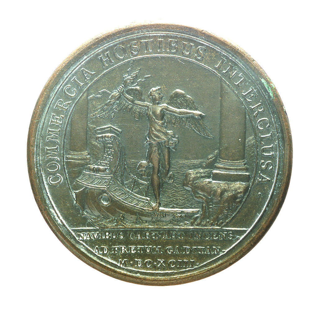 Detail of Medal commemorating the Smyrna fleet being attacked off Gibraltar, 1693; reverse by J. Mauger