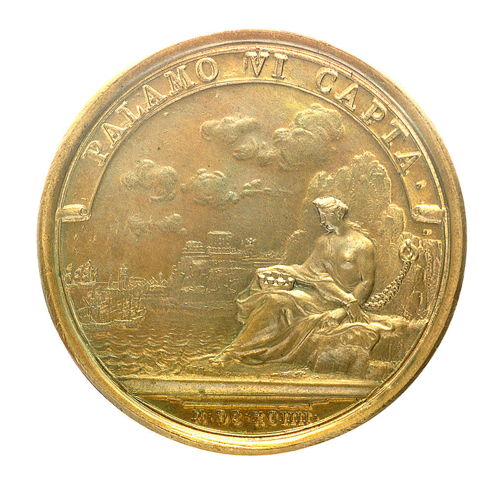 Detail of Medal commemorating the capture of Palamos, 1694; reverse by J. Mauger