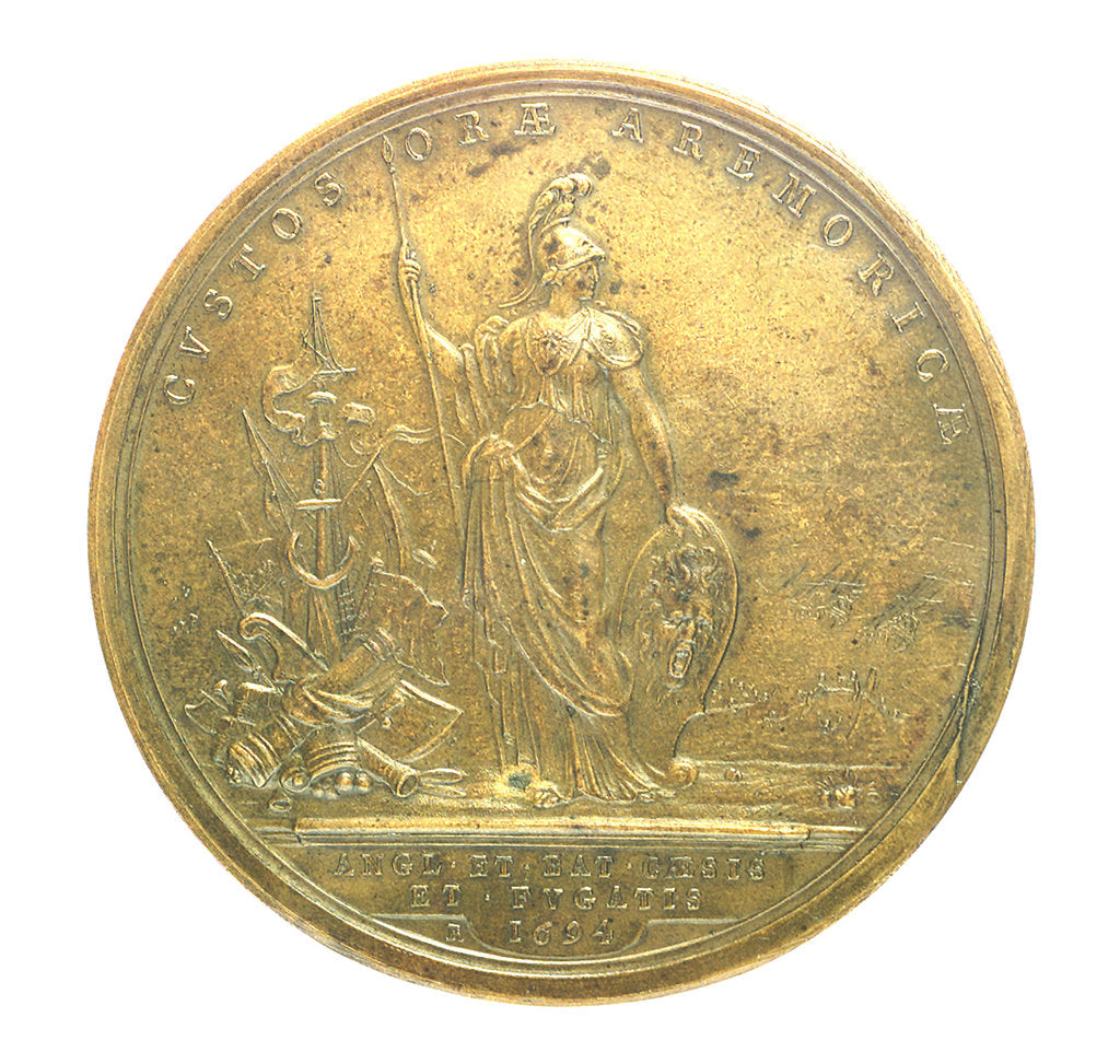 Detail of Medal commemorating the Expedition to Brest, 1694; reverse by H. Roussel