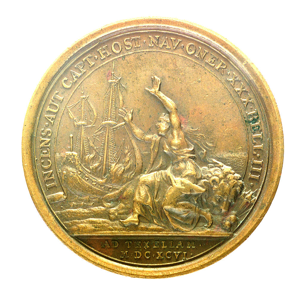 Detail of Medal commemorating the Dutch squadron captured by Admiral Jean Bart, 1696; reverse by unknown