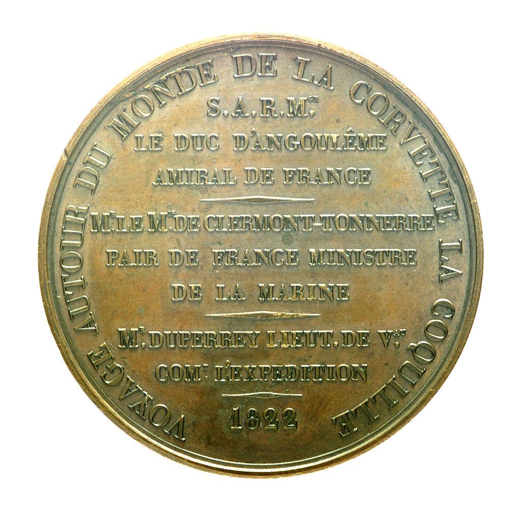 Detail of Medal commemorating the voyage of corvette, 'La Coquille', 1822; reverse by J.P. de Puymaurin