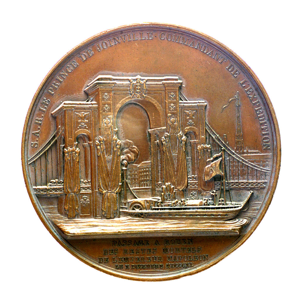 Detail of Medal commemorating the translation of the body of Napoleon to Rouen; reverse by Alexis Joseph Depaulis