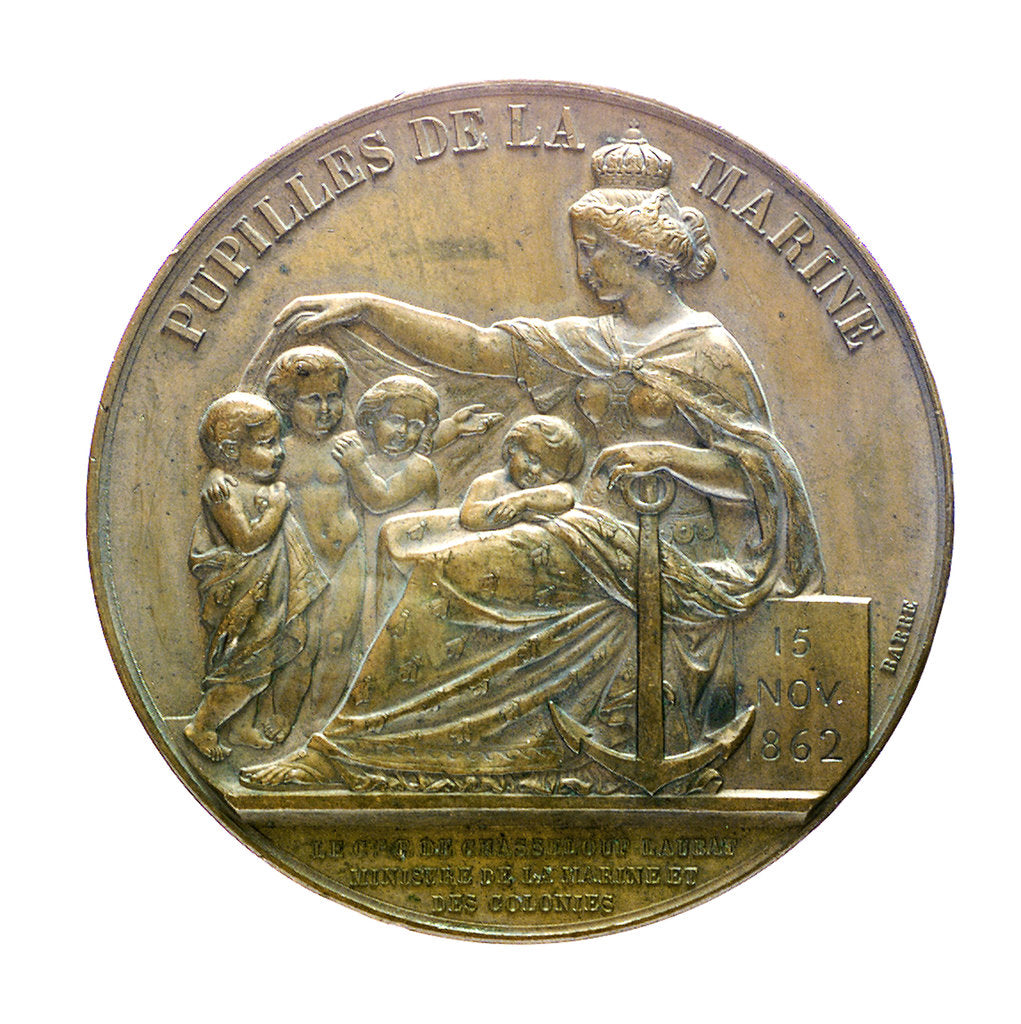 Detail of Medal commemorating a naval orphanage; reverse by J.J. Barre