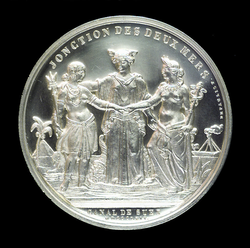 Detail of Medal commemorating the opening of the Suez Canal, 1869; reverse by E.A. Oudin