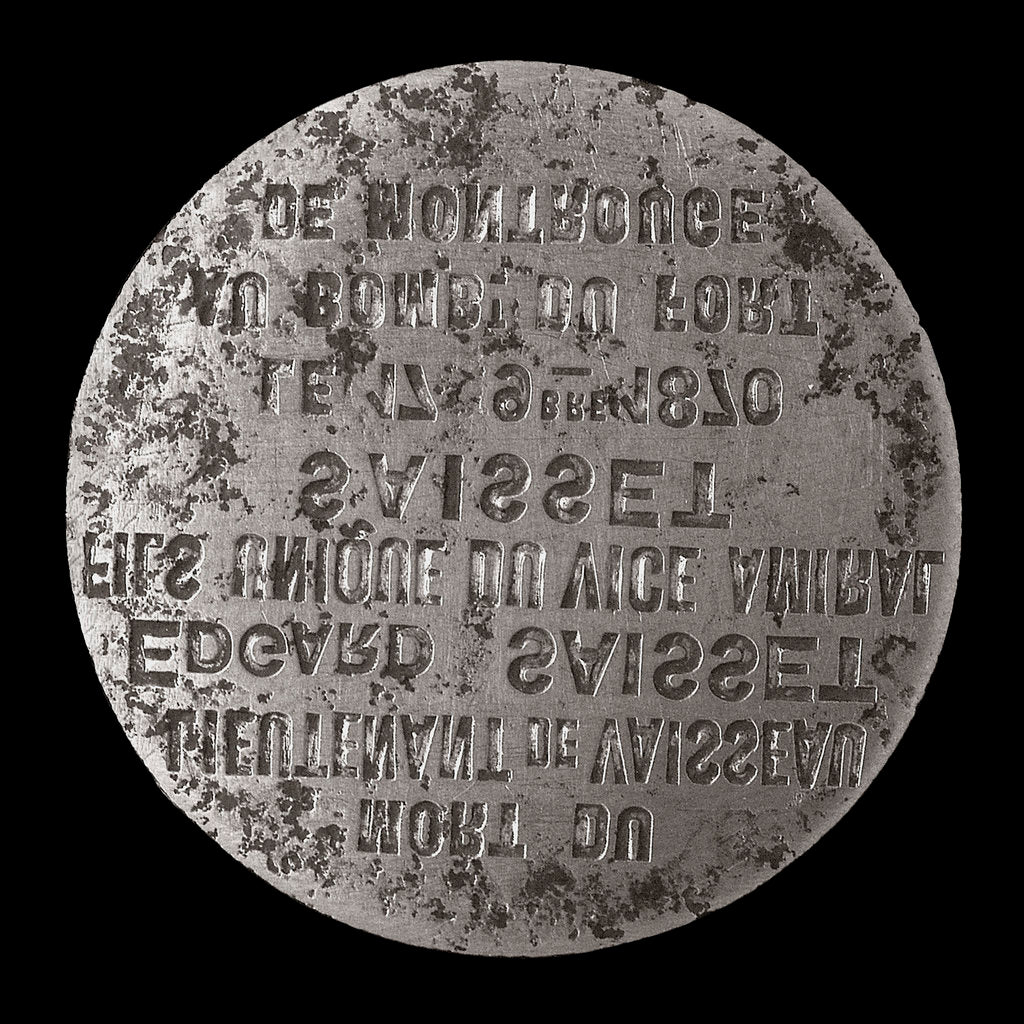 Detail of Medal die commemorating the siege of Paris and death of Lieutenant Edgard Saisset, 1870; obverse by unknown