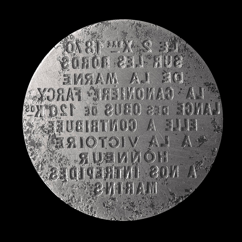 Detail of Medal die commemorating the siege of Paris, 1870-1871, and the woman-gunner Farcy; obverse by unknown